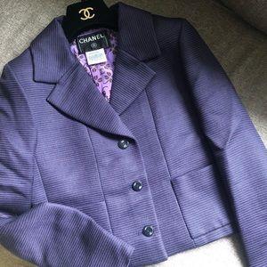 CHANEL 01P Purple Stripe Wool Tweed Blazer FR 36